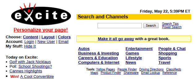 Excite search engine