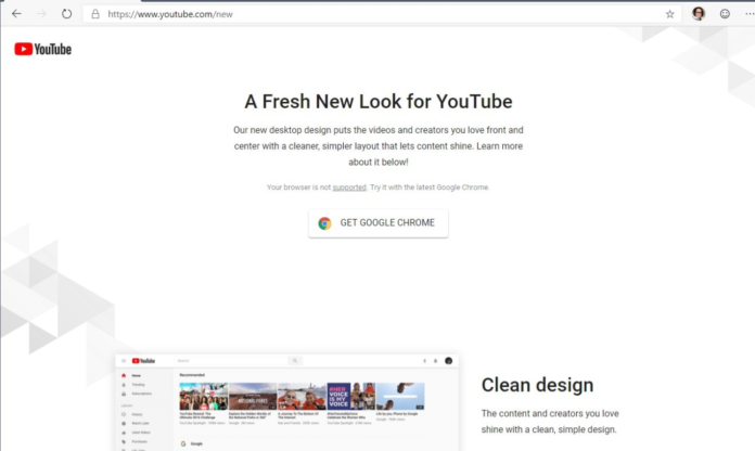 Google does not support the new YouTube from Microsoft Edge based on Chromium