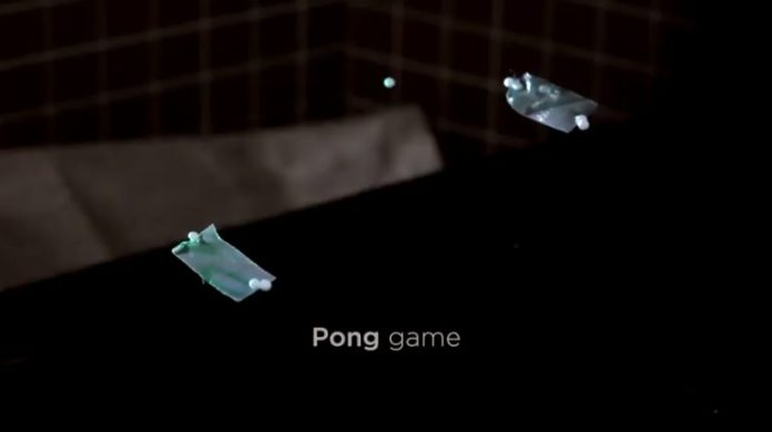 Acoustic levitation allowed the creation of a pseudo-holographic display