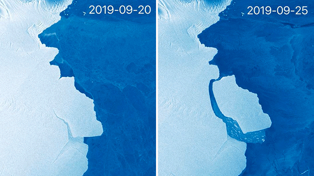 The EU's Sentinel-1 satellite system captured these before and after images