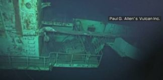The first American aircraft carrier sunk by a Japanese kamikaze discovered