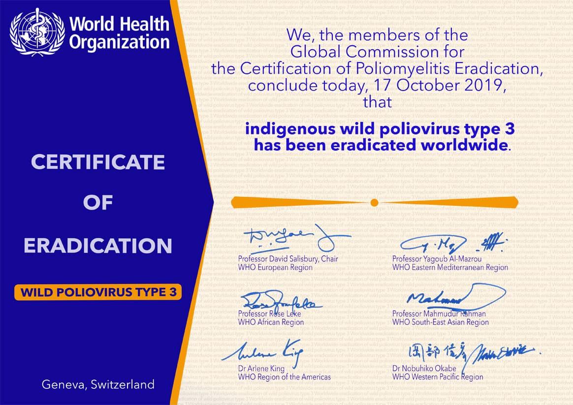 WHO Certificate of Eradication Wild Poliovirus Type 3