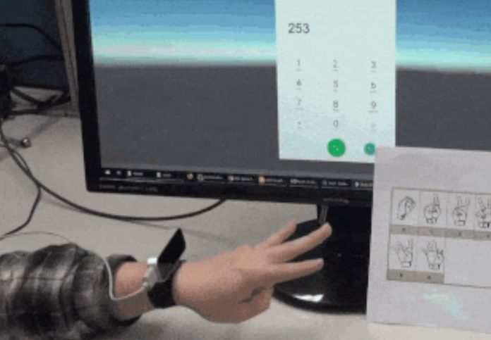 Wristband with infrared camera recognized finger gestures on the back of the hand