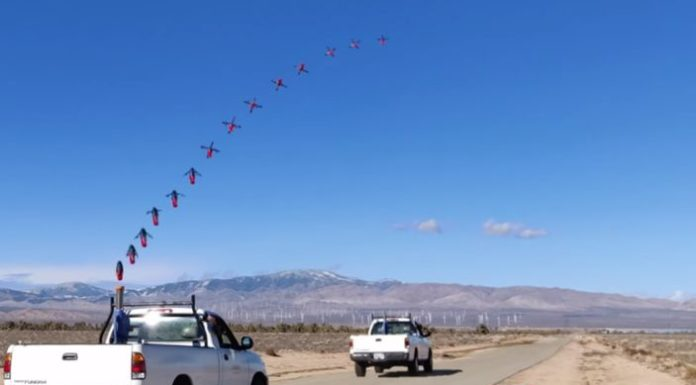 Baseball gun allowed to launch a quadcopter from a moving pickup truck