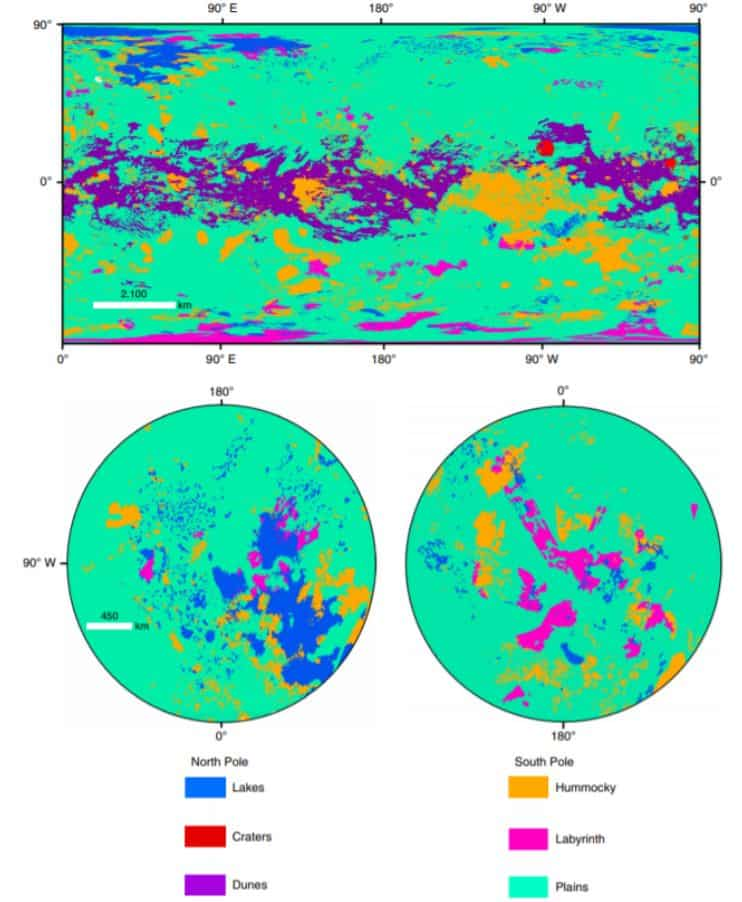 General view of the global geomorphological map of Titan