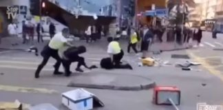 In Hong Kong, a man was set on fire during protests