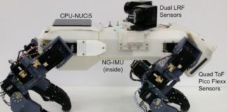 The four-legged robot climbed the vertical ladder