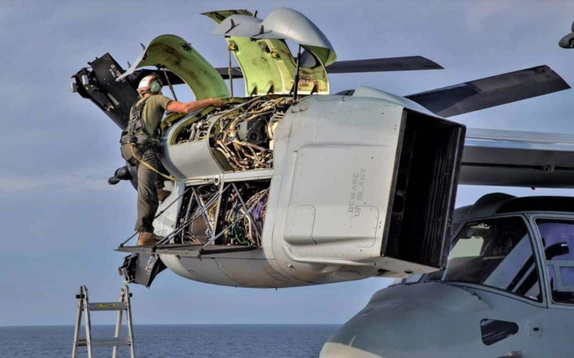 The muscles of the Osprey, its huge turboprop engines Rolls-Royce Allison (US NAVY)